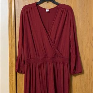 Old Navy Maroon Long Sleeve Dress, XXL